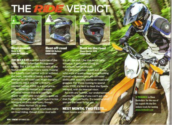 RiDE Magazine adventure helmet test verdict